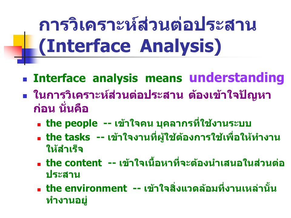 การวิเคราะห์ส่วนต่อประสาน (Interface Analysis) Interface analysis means understanding ในการวิเคราะห์ส่วนต่อประสาน ต้องเข้าใจปัญหา ก่อน นั่นคือ the peo