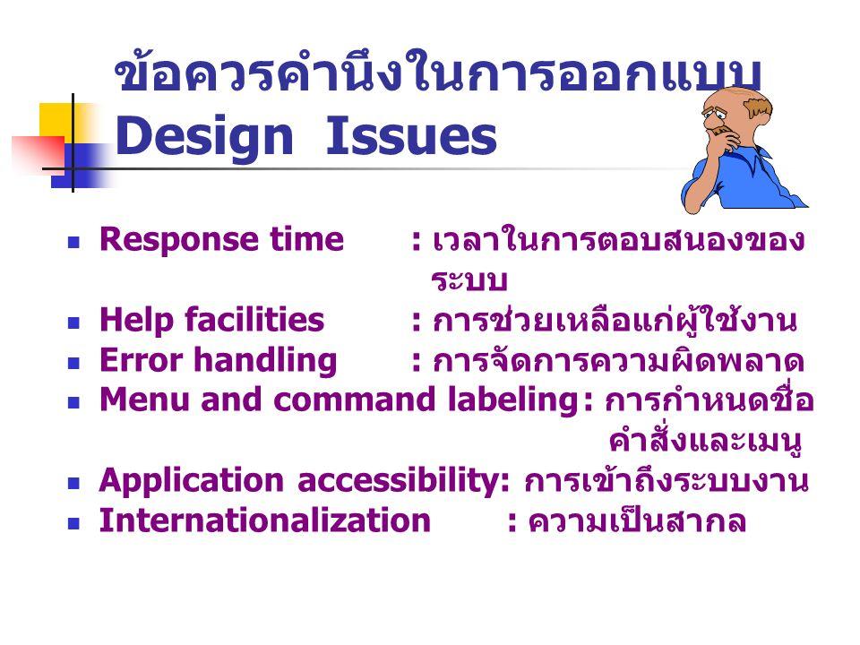 ข้อควรคำนึงในการออกแบบ Design Issues Response time: เวลาในการตอบสนองของ ระบบ Help facilities : การช่วยเหลือแก่ผู้ใช้งาน Error handling: การจัดการความผ