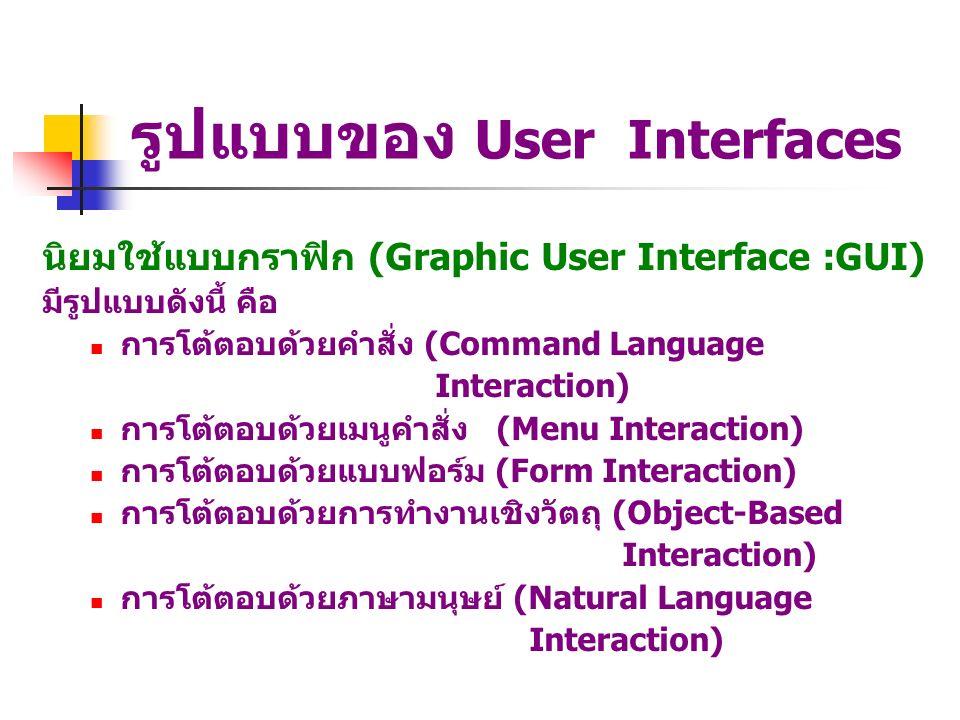 รูปแบบของ User Interfaces นิยมใช้แบบกราฟิก (Graphic User Interface :GUI) มีรูปแบบดังนี้ คือ การโต้ตอบด้วยคำสั่ง (Command Language Interaction) การโต้ต
