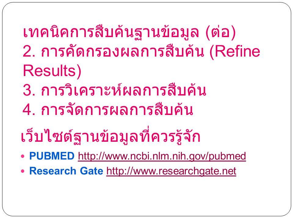 เทคนิคการสืบค้นฐานข้อมูล ( ต่อ ) 2. การคัดกรองผลการสืบค้น (Refine Results) 3.