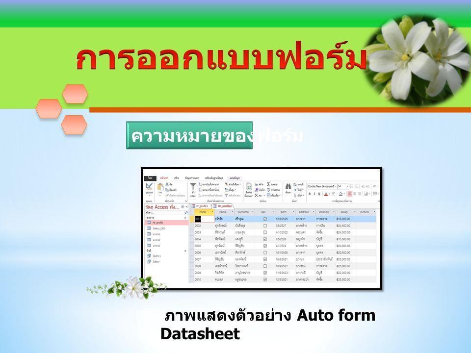 ภาพแสดงตัวอย่าง Auto form Datasheet