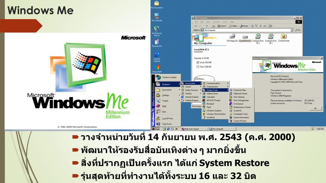 Windows Me  วางจำหน่ายวันที่ 14 กันยายน พ. ศ. 2543 ( ค.