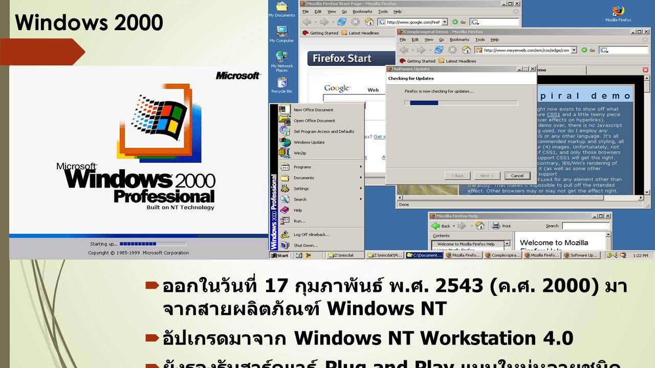 Windows 2000  ออกในวันที่ 17 กุมภาพันธ์ พ. ศ. 2543 ( ค.