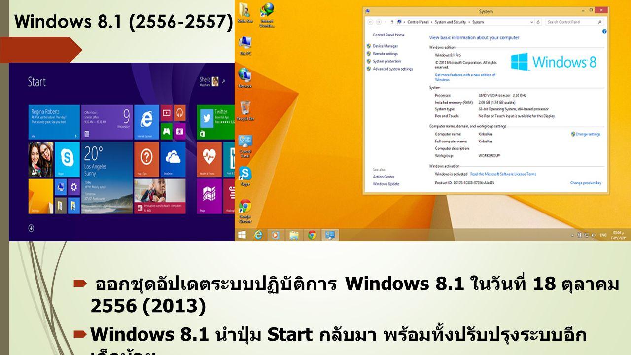 Windows 8.1 (2556-2557)  ออกชุดอัปเดตระบบปฏิบัติการ Windows 8.1 ในวันที่ 18 ตุลาคม 2556 (2013)  Windows 8.1 นำปุ่ม Start กลับมา พร้อมทั้งปรับปรุงระบบอีก เล็กน้อย