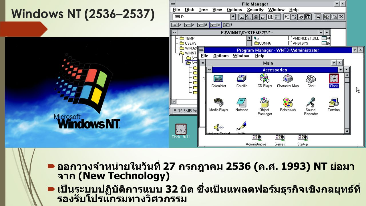 Windows 95 (2538–2541)  ออกวางจำหน่าย Windows 95 ในวันที่ 24 สิงหาคม 2538 ( ค.