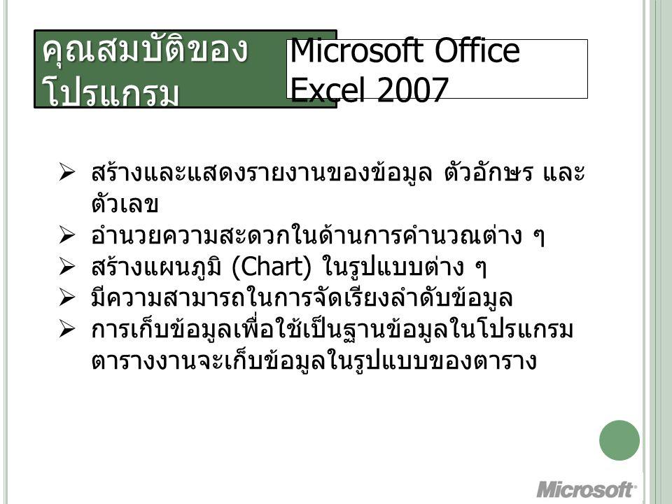 คุณสมบัติของ โปรแกรม Microsoft Office Excel 2007  สร้างและแสดงรายงานของข้อมูล ตัวอักษร และ ตัวเลข  อํานวยความสะดวกในด้านการคํานวณต่าง ๆ  สร้างแผนภูมิ (Chart) ในรูปแบบต่าง ๆ  มีความสามารถในการจัดเรียงลําดับข้อมูล  การเก็บข้อมูลเพื่อใช้เป็นฐานข้อมูลในโปรแกรม ตารางงานจะเก็บข้อมูลในรูปแบบของตาราง