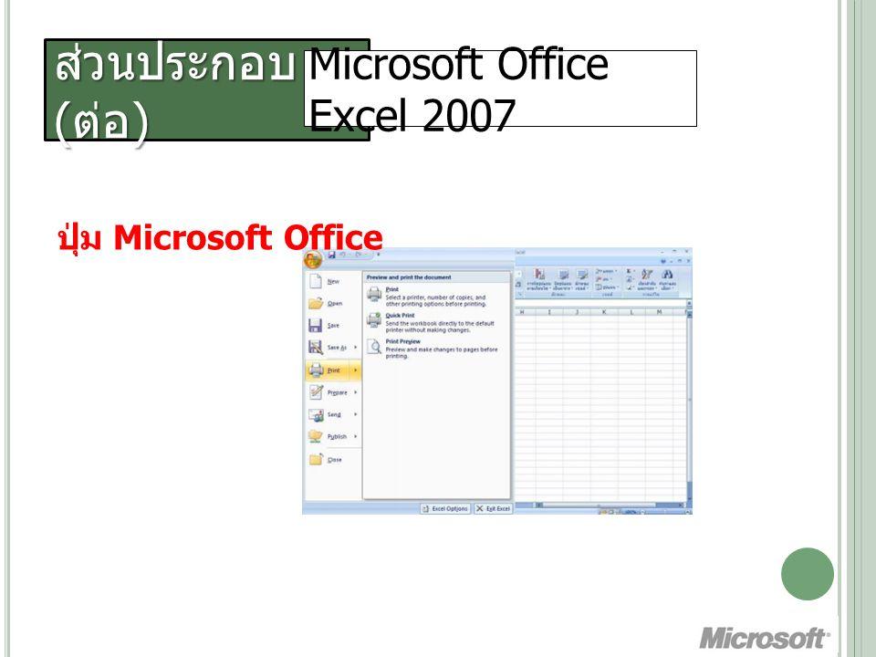 ส่วนประกอบ ( ต่อ ) Microsoft Office Excel 2007 Quick Access Toolbar