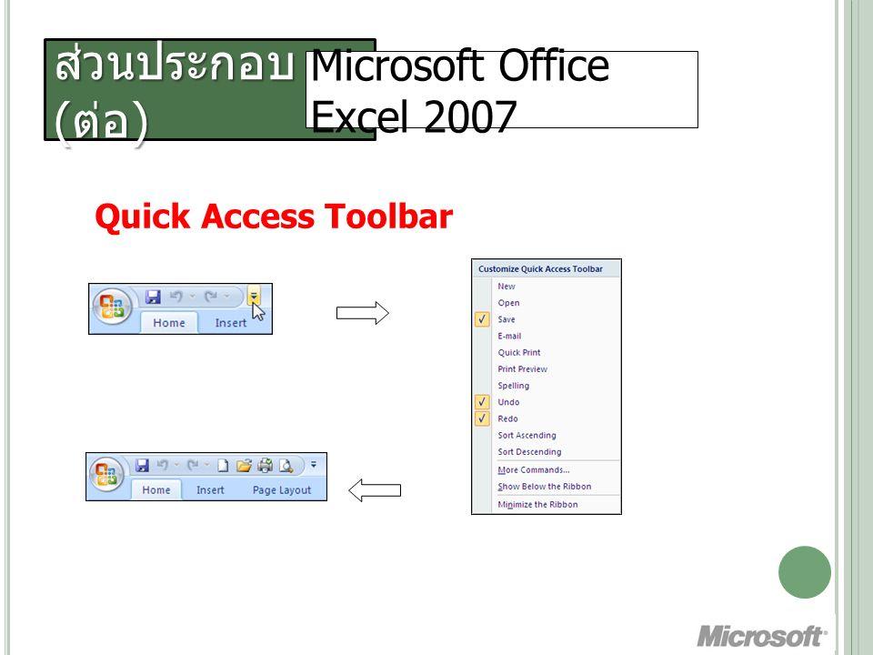 ส่วนประกอบ ( ต่อ ) Microsoft Office Excel 2007 Ribbon