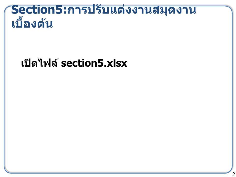 Section5: การปรับแต่งงานสมุดงาน เบื้องต้น 2 เปิดไฟล์ section5.xlsx