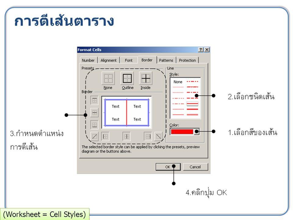 การตีเส้นตาราง (Worksheet = Cell Styles)