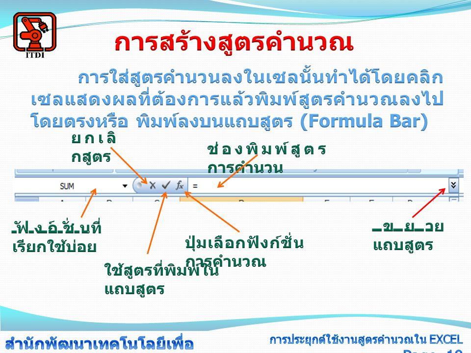 ตัวอย่างผลลัพธ์ =SUM(A1:A5 ) ผลรวมของการบวกข้อมูลในเซล A1 ถึง A5 = SUM(A1:A2,B1:B2) ผลรวมของการบวกข้อมูลในเซล A1 ถึง A2 และ B1 ถึง B2 =SUM(B1:B1 0 A3: