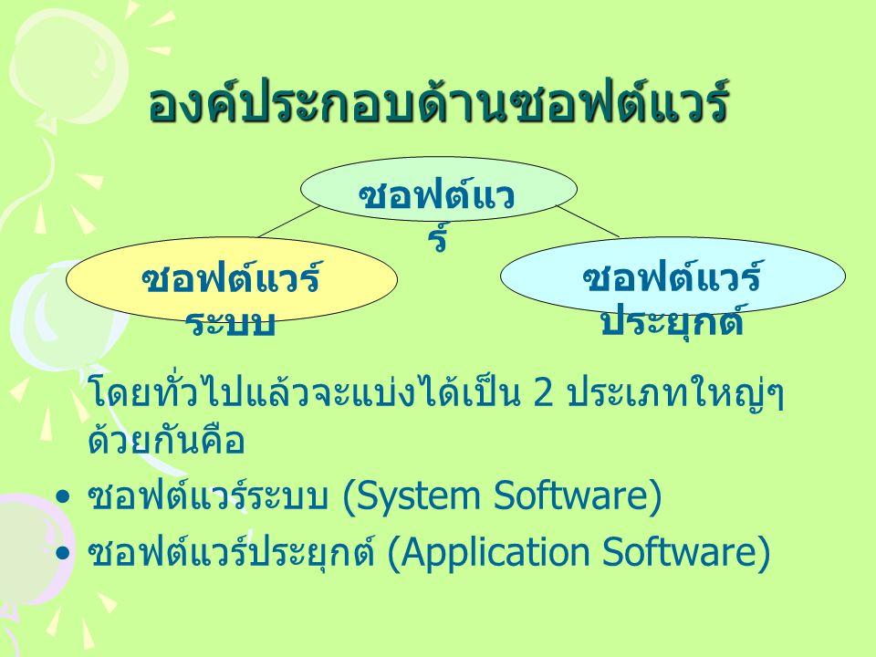 องค์ประกอบด้านซอฟต์แวร์ โดยทั่วไปแล้วจะแบ่งได้เป็น 2 ประเภทใหญ่ๆ ด้วยกันคือ ซอฟต์แวร์ระบบ (System Software) ซอฟต์แวร์ประยุกต์ (Application Software) ซอฟต์แว ร์ ซอฟต์แวร์ ระบบ ซอฟต์แวร์ ประยุกต์