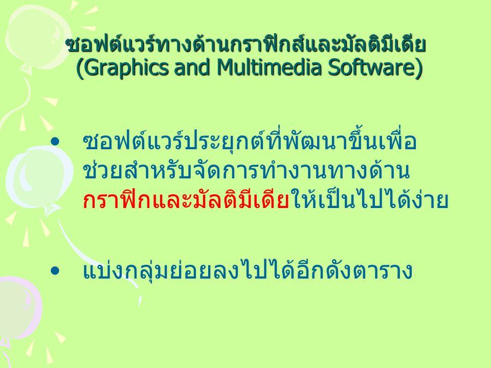 ซอฟต์แวร์ทางด้านกราฟิกส์และมัลติมีเดีย (Graphics and Multimedia Software) ซอฟต์แวร์ประยุกต์ที่พัฒนาขึ้นเพื่อ ช่วยสำหรับจัดการทำงานทางด้าน กราฟิกและมัลติมีเดียให้เป็นไปได้ง่าย แบ่งกลุ่มย่อยลงไปได้อีกดังตาราง