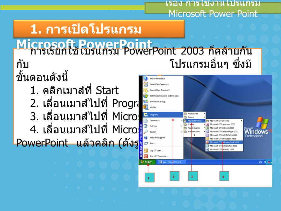 เรื่อง การใช้งานโปรแกรม Microsoft Power Point การเรียกใช้โปรแกรม PowerPoint 2003 ก็คล้ายกัน กับ โปรแกรมอื่นๆ ซึ่งมี ขั้นตอนดังนี้ 1.