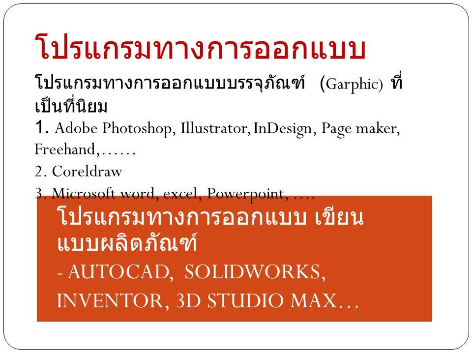 โปรแกรมทางการออกแบบ โปรแกรมทางการออกแบบบรรจุภัณฑ์ (Garphic) ที่ เป็นที่นิยม 1. Adobe Photoshop, Illustrator, InDesign, Page maker, Freehand,…… 2. Core
