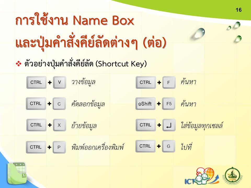  ตัวอย่างปุ่มคำสั่งคีย์ลัด (Shortcut Key) การใช้งาน Name Box และปุ่มคำสั่งคีย์ลัดต่างๆ (ต่อ) X  F C Shift F5 P วางข้อมูล คัดลอกข้อมูล ย้ายข้อมูล พิม
