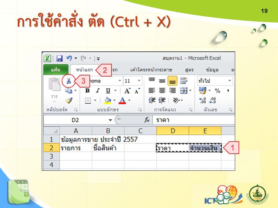 การใช้คำสั่ง ตัด (Ctrl + X) 19
