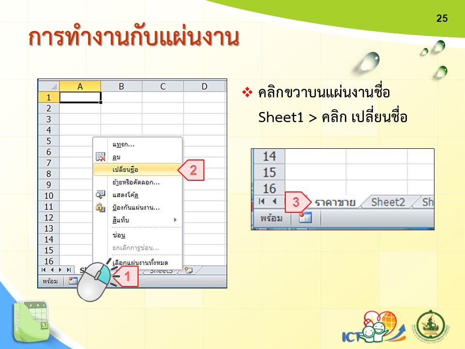 การทำงานกับแผ่นงานการทำงานกับแผ่นงาน  คลิกขวาบนแผ่นงานชื่อ Sheet1 > คลิก เปลี่ยนชื่อ 25