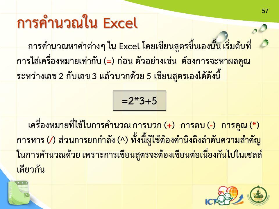 การคำนวณหาค่าต่างๆ ใน Excel โดยเขียนสูตรขึ้นเองนั้น เริ่มต้นที่ การใส่เครื่องหมายเท่ากับ (=) ก่อน ตัวอย่างเช่น ต้องการจะหาผลคูณ ระหว่างเลข 2 กับเลข 3