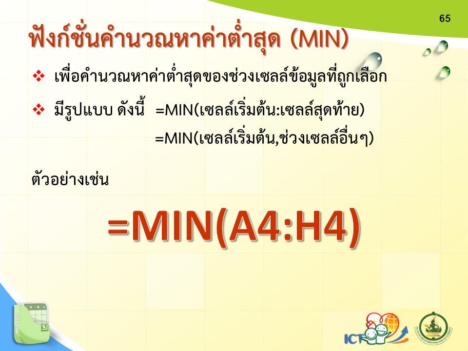 ฟังก์ชั่นคำนวณหาค่าต่ำสุด (MIN) 65  เพื่อคำนวณหาค่าต่ำสุดของช่วงเซลล์ข้อมูลที่ถูกเลือก  มีรูปแบบ ดังนี้ =MIN(เซลล์เริ่มต้น:เซลล์สุดท้าย) =MIN(เซลล์เ