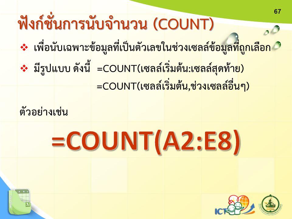 67  เพื่อนับเฉพาะข้อมูลที่เป็นตัวเลขในช่วงเซลล์ข้อมูลที่ถูกเลือก  มีรูปแบบ ดังนี้ =COUNT(เซลล์เริ่มต้น:เซลล์สุดท้าย) =COUNT(เซลล์เริ่มต้น,ช่วงเซลล์อ