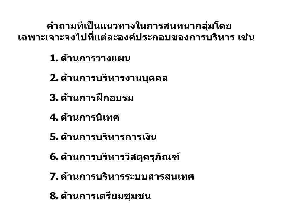 คำถามที่เป็นแนวทางในการสนทนากลุ่มโดย เฉพาะเจาะจงไปที่แต่ละองค์ประกอบของการบริหาร เช่น 1.ด้านการวางแผน 2.ด้านการบริหารงานบุคคล 3.ด้านการฝึกอบรม 4.ด้านการนิเทศ 5.ด้านการบริหารการเงิน 6.ด้านการบริหารวัสดุครุภัณฑ์ 7.ด้านการบริหารระบบสารสนเทศ 8.ด้านการเตรียมชุมชน
