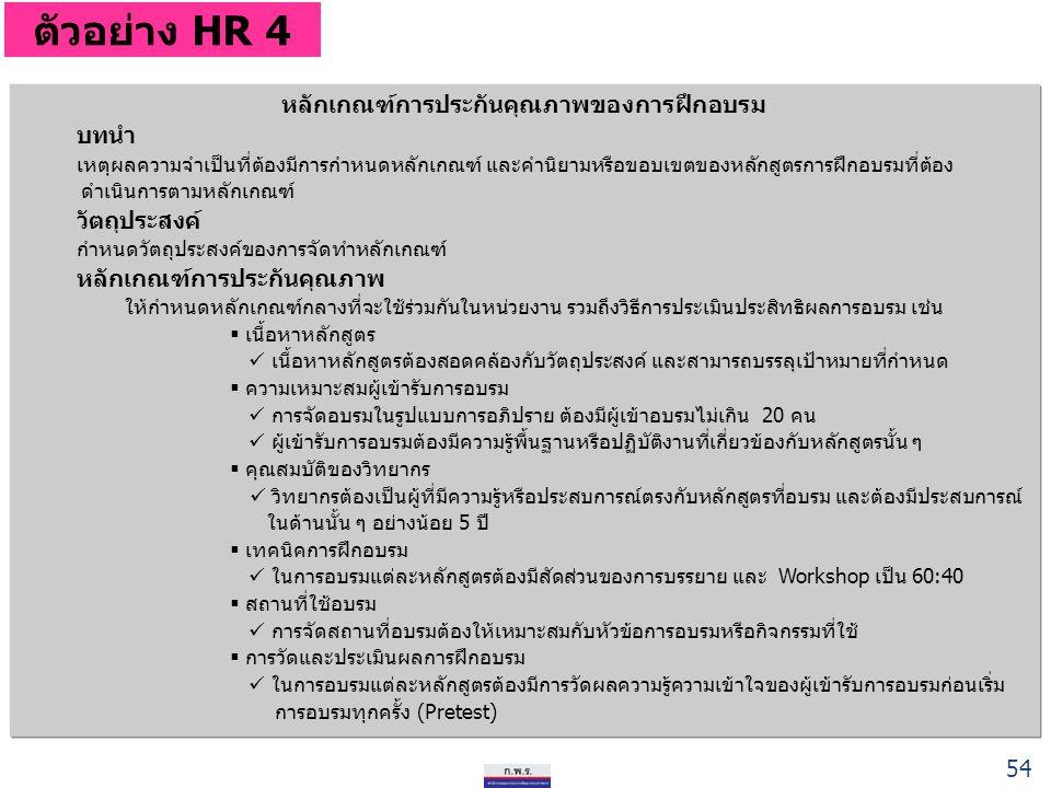 ตัวอย่าง HR 4 หลักเกณฑ์การประกันคุณภาพของการฝึกอบรม บทนำ เหตุผลความจำเป็นที่ต้องมีการกำหนดหลักเกณฑ์ และคำนิยามหรือขอบเขตของหลักสูตรการฝึกอบรมที่ต้อง ดำเนินการตามหลักเกณฑ์ วัตถุประสงค์ กำหนดวัตถุประสงค์ของการจัดทำหลักเกณฑ์ หลักเกณฑ์การประกันคุณภาพ ให้กำหนดหลักเกณฑ์กลางที่จะใช้ร่วมกันในหน่วยงาน รวมถึงวิธีการประเมินประสิทธิผลการอบรม เช่น  เนื้อหาหลักสูตร เนื้อหาหลักสูตรต้องสอดคล้องกับวัตถุประสงค์ และสามารถบรรลุเป้าหมายที่กำหนด  ความเหมาะสมผู้เข้ารับการอบรม การจัดอบรมในรูปแบบการอภิปราย ต้องมีผู้เข้าอบรมไม่เกิน 20 คน ผู้เข้ารับการอบรมต้องมีความรู้พื้นฐานหรือปฏิบัติงานที่เกี่ยวข้องกับหลักสูตรนั้น ๆ  คุณสมบัติของวิทยากร วิทยากรต้องเป็นผู้ที่มีความรู้หรือประสบการณ์ตรงกับหลักสูตรที่อบรม และต้องมีประสบการณ์ ในด้านนั้น ๆ อย่างน้อย 5 ปี  เทคนิคการฝึกอบรม ในการอบรมแต่ละหลักสูตรต้องมีสัดส่วนของการบรรยาย และ Workshop เป็น 60:40  สถานที่ใช้อบรม การจัดสถานที่อบรมต้องให้เหมาะสมกับหัวข้อการอบรมหรือกิจกรรมที่ใช้  การวัดและประเมินผลการฝึกอบรม ในการอบรมแต่ละหลักสูตรต้องมีการวัดผลความรู้ความเข้าใจของผู้เข้ารับการอบรมก่อนเริ่ม การอบรมทุกครั้ง (Pretest) 54