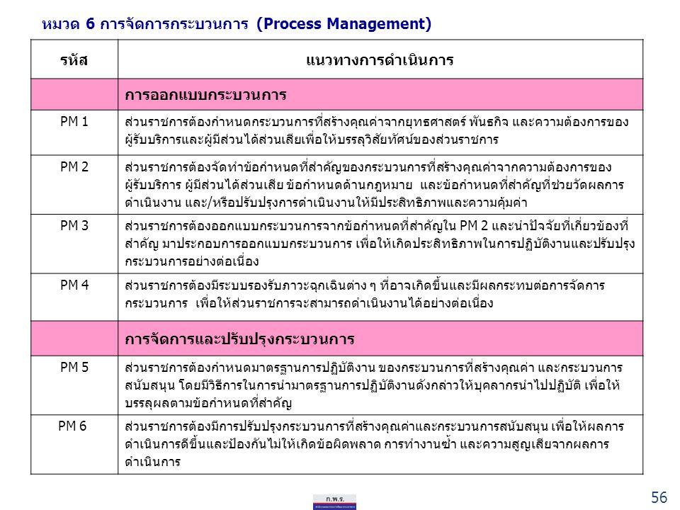 หมวด 6 การจัดการกระบวนการ (Process Management) รหัสแนวทางการดำเนินการ การออกแบบกระบวนการ PM 1 ส่วนราชการต้องกำหนดกระบวนการที่สร้างคุณค่าจากยุทธศาสตร์ พันธกิจ และความต้องการของ ผู้รับบริการและผู้มีส่วนได้ส่วนเสียเพื่อให้บรรลุวิสัยทัศน์ของส่วนราชการ PM 2 ส่วนราชการต้องจัดทำข้อกำหนดที่สำคัญของกระบวนการที่สร้างคุณค่าจากความต้องการของ ผู้รับบริการ ผู้มีส่วนได้ส่วนเสีย ข้อกำหนดด้านกฎหมาย และข้อกำหนดที่สำคัญที่ช่วยวัดผลการ ดำเนินงาน และ/หรือปรับปรุงการดำเนินงานให้มีประสิทธิภาพและความคุ้มค่า PM 3 ส่วนราชการต้องออกแบบกระบวนการจากข้อกำหนดที่สำคัญใน PM 2 และนำปัจจัยที่เกี่ยวข้องที่ สำคัญ มาประกอบการออกแบบกระบวนการ เพื่อให้เกิดประสิทธิภาพในการปฏิบัติงานและปรับปรุง กระบวนการอย่างต่อเนื่อง PM 4 ส่วนราชการต้องมีระบบรองรับภาวะฉุกเฉินต่าง ๆ ที่อาจเกิดขึ้นและมีผลกระทบต่อการจัดการ กระบวนการ เพื่อให้ส่วนราชการจะสามารถดำเนินงานได้อย่างต่อเนื่อง การจัดการและปรับปรุงกระบวนการ PM 5 ส่วนราชการต้องกำหนดมาตรฐานการปฏิบัติงาน ของกระบวนการที่สร้างคุณค่า และกระบวนการ สนับสนุน โดยมีวิธีการในการนำมาตรฐานการปฏิบัติงานดังกล่าวให้บุคลากรนำไปปฏิบัติ เพื่อให้ บรรลุผลตามข้อกำหนดที่สำคัญ PM 6 ส่วนราชการต้องมีการปรับปรุงกระบวนการที่สร้างคุณค่าและกระบวนการสนับสนุน เพื่อให้ผลการ ดำเนินการดีขึ้นและป้องกันไม่ให้เกิดข้อผิดพลาด การทำงานซ้ำ และความสูญเสียจากผลการ ดำเนินการ 56