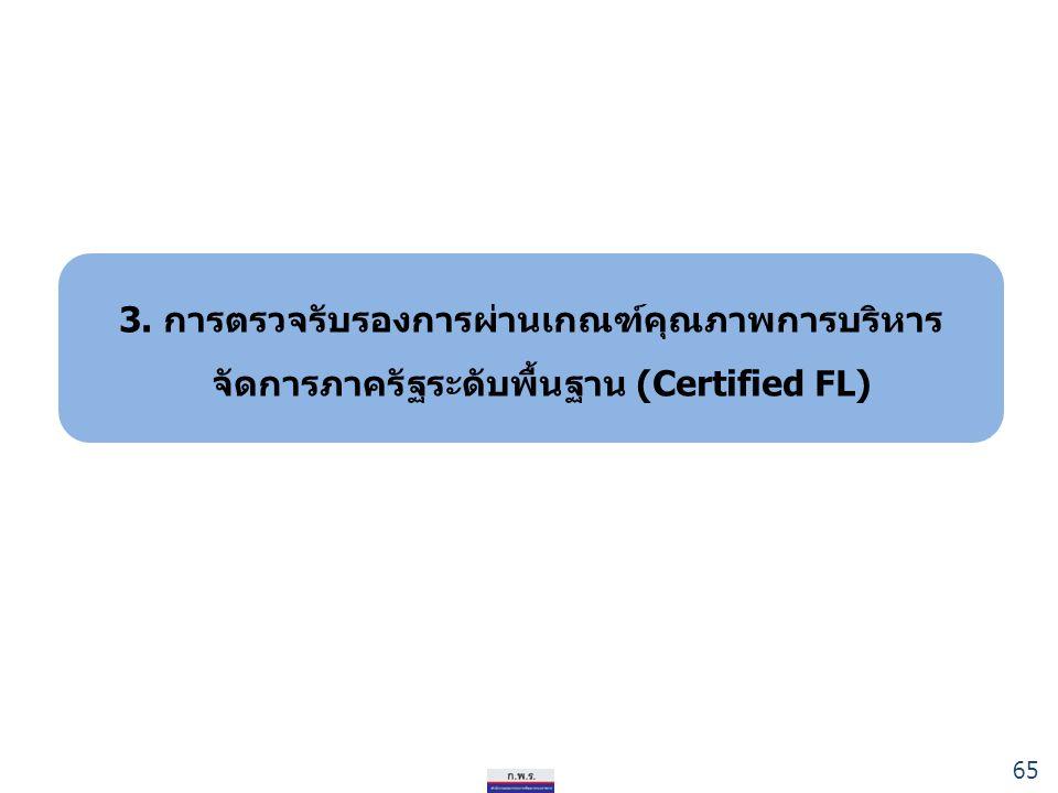 3. การตรวจรับรองการผ่านเกณฑ์คุณภาพการบริหาร จัดการภาครัฐระดับพื้นฐาน (Certified FL) 65
