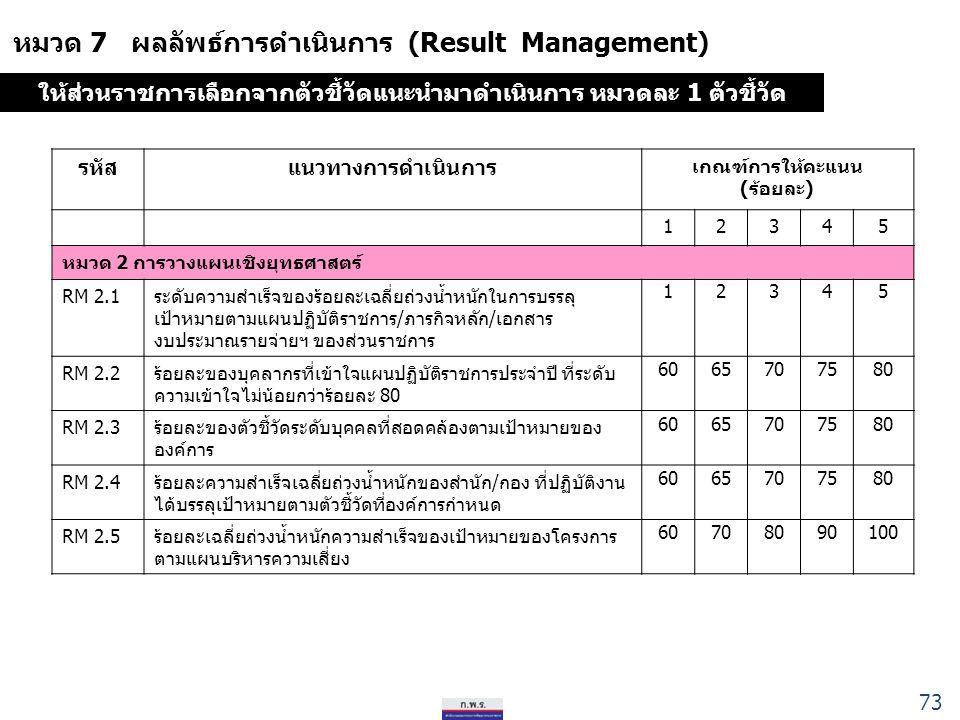 หมวด 7 ผลลัพธ์การดำเนินการ (Result Management) รหัสแนวทางการดำเนินการ เกณฑ์การให้คะแนน (ร้อยละ) 12345 หมวด 2 การวางแผนเชิงยุทธศาสตร์ RM 2.1ระดับความสำเร็จของร้อยละเฉลี่ยถ่วงน้ำหนักในการบรรลุ เป้าหมายตามแผนปฏิบัติราชการ/ภารกิจหลัก/เอกสาร งบประมาณรายจ่ายฯ ของส่วนราชการ 12345 RM 2.2ร้อยละของบุคลากรที่เข้าใจแผนปฏิบัติราชการประจำปี ที่ระดับ ความเข้าใจไม่น้อยกว่าร้อยละ 80 6065707580 RM 2.3ร้อยละของตัวชี้วัดระดับบุคคลที่สอดคล้องตามเป้าหมายของ องค์การ 6065707580 RM 2.4ร้อยละความสำเร็จเฉลี่ยถ่วงน้ำหนักของสำนัก/กอง ที่ปฏิบัติงาน ได้บรรลุเป้าหมายตามตัวชี้วัดที่องค์การกำหนด 6065707580 RM 2.5 ร้อยละเฉลี่ยถ่วงน้ำหนักความสำเร็จของเป้าหมายของโครงการ ตามแผนบริหารความเสี่ยง 60708090100 ให้ส่วนราชการเลือกจากตัวชี้วัดแนะนำมาดำเนินการ หมวดละ 1 ตัวชี้วัด 73
