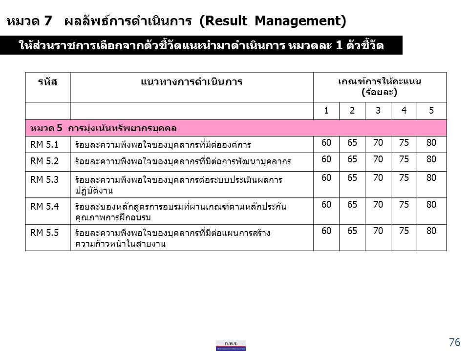 หมวด 7 ผลลัพธ์การดำเนินการ (Result Management) รหัสแนวทางการดำเนินการ เกณฑ์การให้คะแนน (ร้อยละ) 12345 หมวด 5 การมุ่งเน้นทรัพยากรบุคคล RM 5.1ร้อยละความพึงพอใจของบุคลากรที่มีต่อองค์การ 6065707580 RM 5.2ร้อยละความพึงพอใจของบุคลากรที่มีต่อการพัฒนาบุคลากร 6065707580 RM 5.3ร้อยละความพึงพอใจของบุคลากรต่อระบบประเมินผลการ ปฏิบัติงาน 6065707580 RM 5.4ร้อยละของหลักสูตรการอบรมที่ผ่านเกณฑ์ตามหลักประกัน คุณภาพการฝึกอบรม 6065707580 RM 5.5 ร้อยละความพึงพอใจของบุคลากรที่มีต่อแผนการสร้าง ความก้าวหน้าในสายงาน 6065707580 ให้ส่วนราชการเลือกจากตัวชี้วัดแนะนำมาดำเนินการ หมวดละ 1 ตัวชี้วัด 76