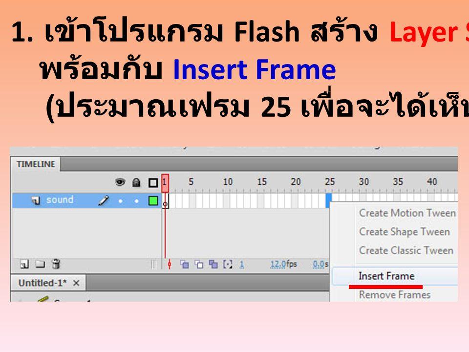 1. เข้าโปรแกรม Flash สร้าง Layer Sound พร้อมกับ Insert Frame ( ประมาณเฟรม 25 เพื่อจะได้เห็นเส้นเสียง )