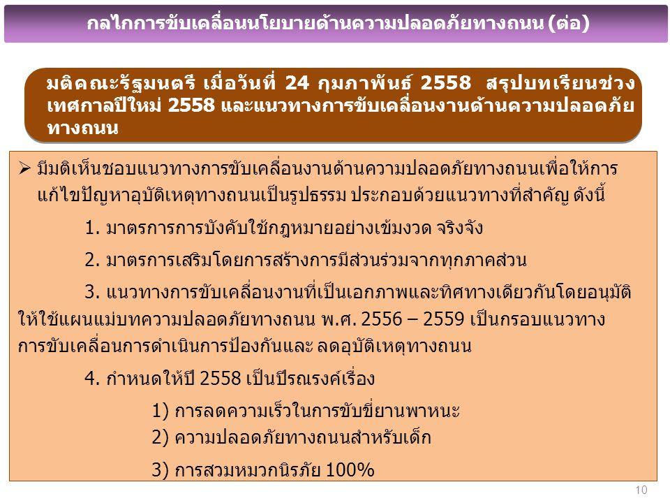มติคณะรัฐมนตรี เมื่อวันที่ 24 กุมภาพันธ์ 2558 สรุปบทเรียนช่วง เทศกาลปีใหม่ 2558 และแนวทางการขับเคลื่อนงานด้านความปลอดภัย ทางถนน  มีมติเห็นชอบแนวทางการขับเคลื่อนงานด้านความปลอดภัยทางถนนเพื่อให้การ แก้ไขปัญหาอุบัติเหตุทางถนนเป็นรูปธรรม ประกอบด้วยแนวทางที่สำคัญ ดังนี้ 1.