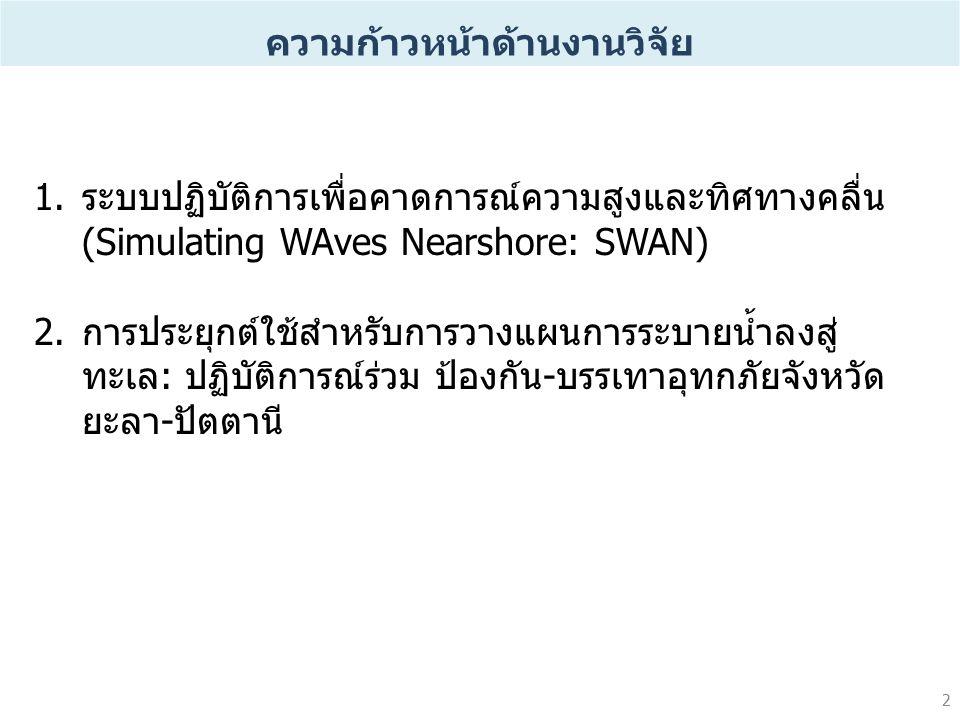 2 1.ระบบปฏิบัติการเพื่อคาดการณ์ความสูงและทิศทางคลื่น (Simulating WAves Nearshore: SWAN) 2.การประยุกต์ใช้สำหรับการวางแผนการระบายน้ำลงสู่ ทะเล: ปฏิบัติการณ์ร่วม ป้องกัน-บรรเทาอุทกภัยจังหวัด ยะลา-ปัตตานี ความก้าวหน้าด้านงานวิจัย