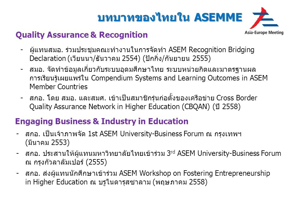 Quality Assurance & Recognition Engaging Business & Industry in Education -สกอ.