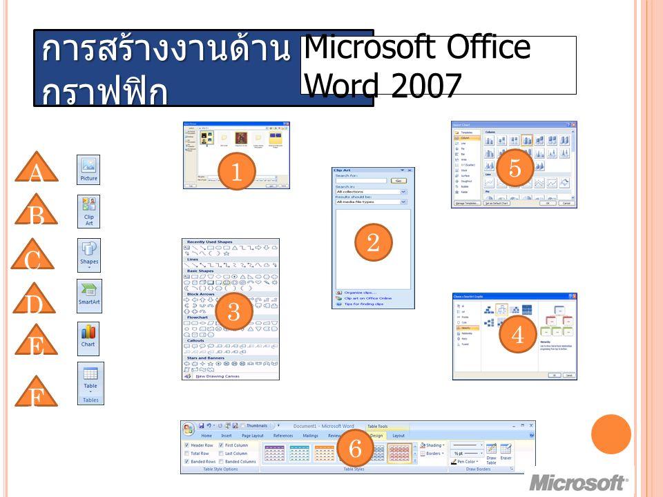 การสร้างงานด้าน กราฟฟิก Microsoft Office Word 2007 A C D E F B 1 2 3 4 5 6