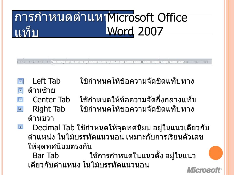 การกำหนดตำแหน่ง แท็บ Microsoft Office Word 2007 Left Tab ใช้กำหนดให้ข้อความจัดชิดแท็บทาง ด้านซ้าย Center Tab ใช้กำหนดให้ข้อความจัดกึ่งกลางแท็บ Right Tab ใช้กำหนดให้ขอความจัดชิดแท็บทาง ด้านขวา Decimal Tab ใช้กำหนดให้จุดทศนิยม อยู่ในแนวเดียวกับ ตำแหน่ง ในไม้บรรทัดแนวนอน เหมาะกับการเรียนตัวเลข ให้จุดทศนิยมตรงกัน Bar Tab ใช้การกำหนดในแนวตั้ง อยู่ในแนว เดียวกับตำแหน่ง ในไม้บรรทัดแนวนอน