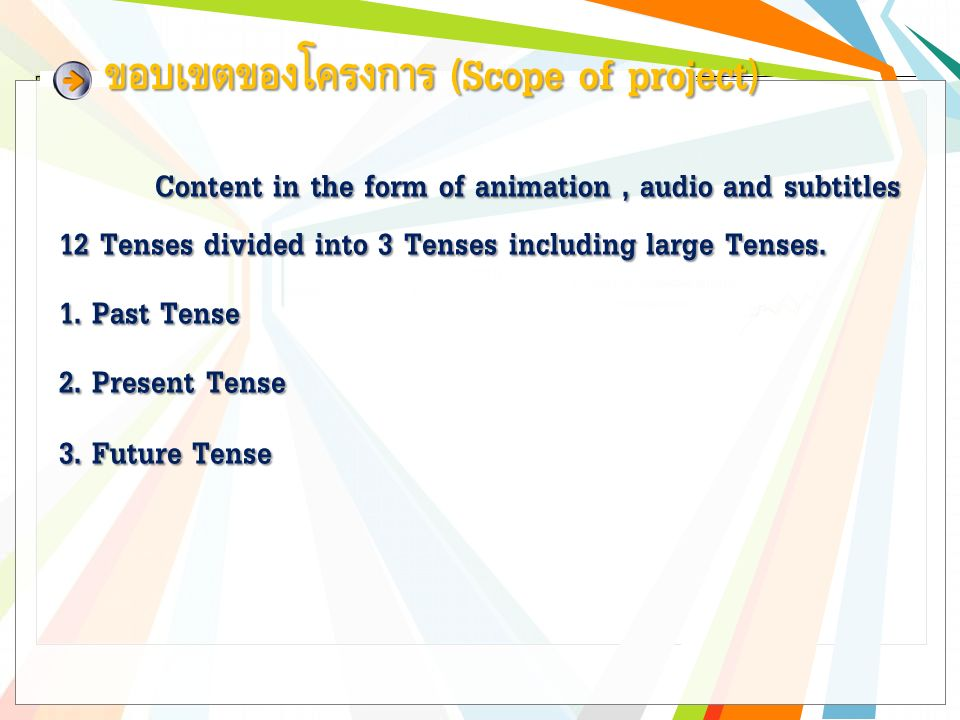 Content in the form of animation, audio and subtitles 12 Tenses divided into 3 Tenses including large Tenses.