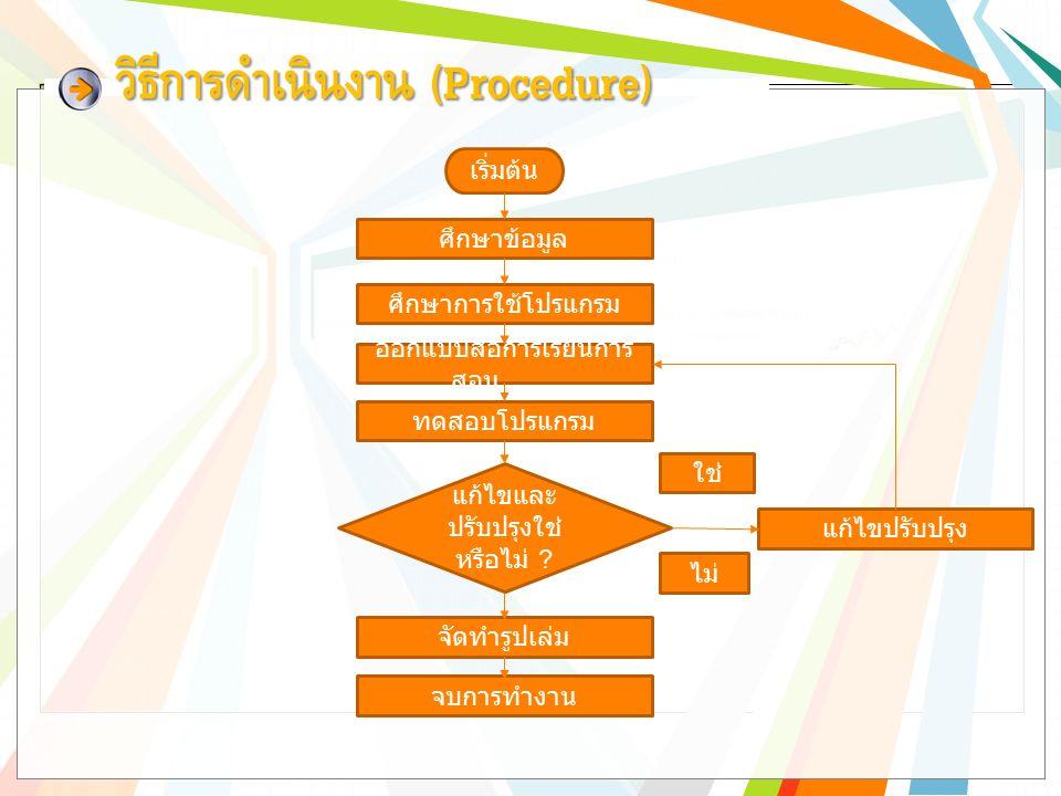 วิธีการดำเนินงาน (Procedure) เริ่มต้น ศึกษาข้อมูล ศึกษาการใช้โปรแกรม ออกแบบสื่อการเรียนการ สอน ทดสอบโปรแกรม แก้ไขและ ปรับปรุงใช่ หรือไม่ .