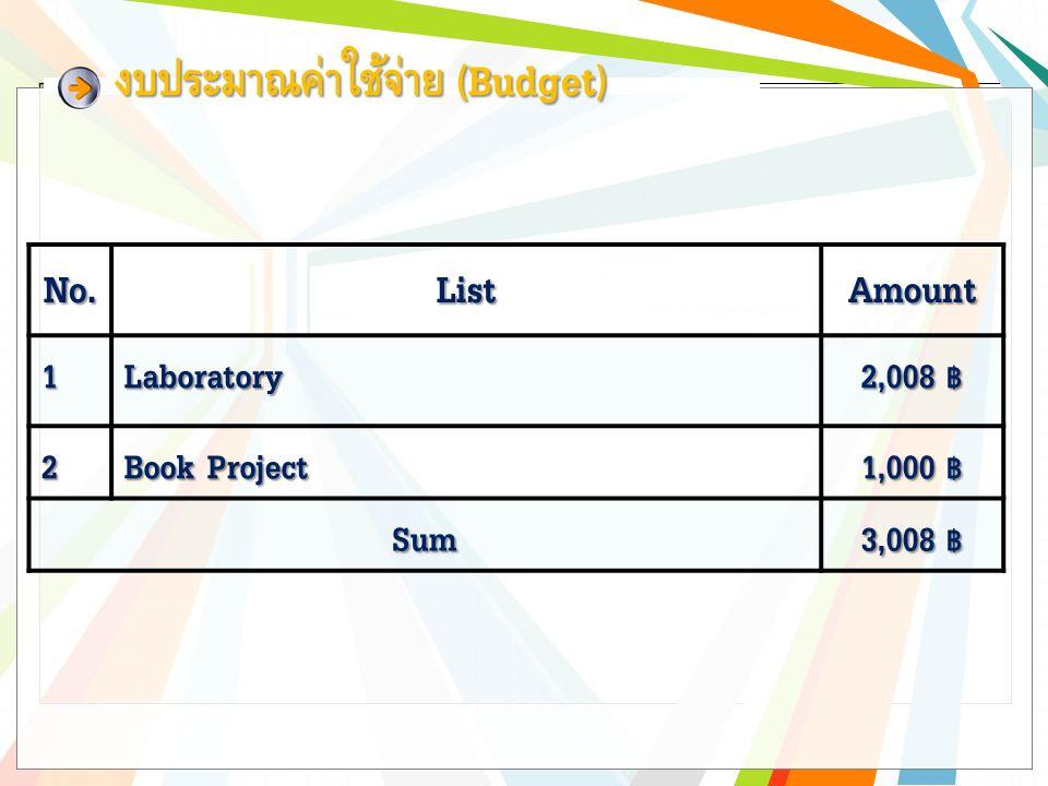 งบประมาณค่าใช้จ่าย (Budget) No.ListAmount1Laboratory 2,008 ฿ 2 Book Project 1,000 ฿ Sum 3,008 ฿
