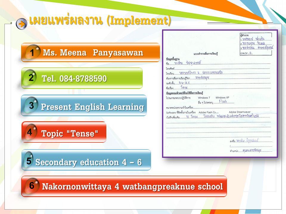 1 Ms. Meena Panyasawan 2 Tel. 084-8788590 Tel.