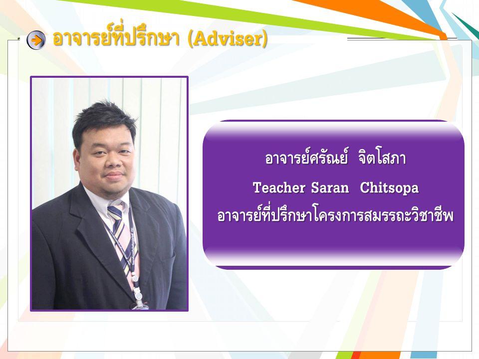 อาจารย์ที่ปรึกษา (Adviser) อาจารย์ธวัชชัย ทะนงค์ Teacher Thawatchai Tanong อาจารย์ที่ปรึกษากลุ่มวิชาสามัญ