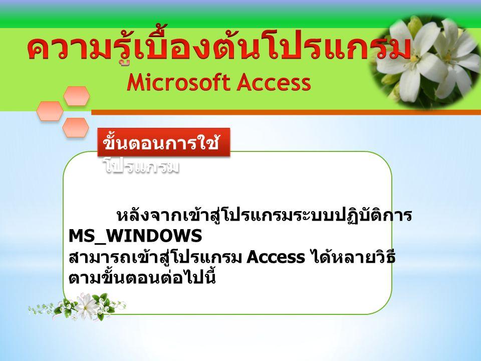 ขั้นตอนการใช้ โปรแกรม หลังจากเข้าสู่โปรแกรมระบบปฏิบัติการ MS_WINDOWS สามารถเข้าสู่โปรแกรม Access ได้หลายวิธี ตามขั้นตอนต่อไปนี้