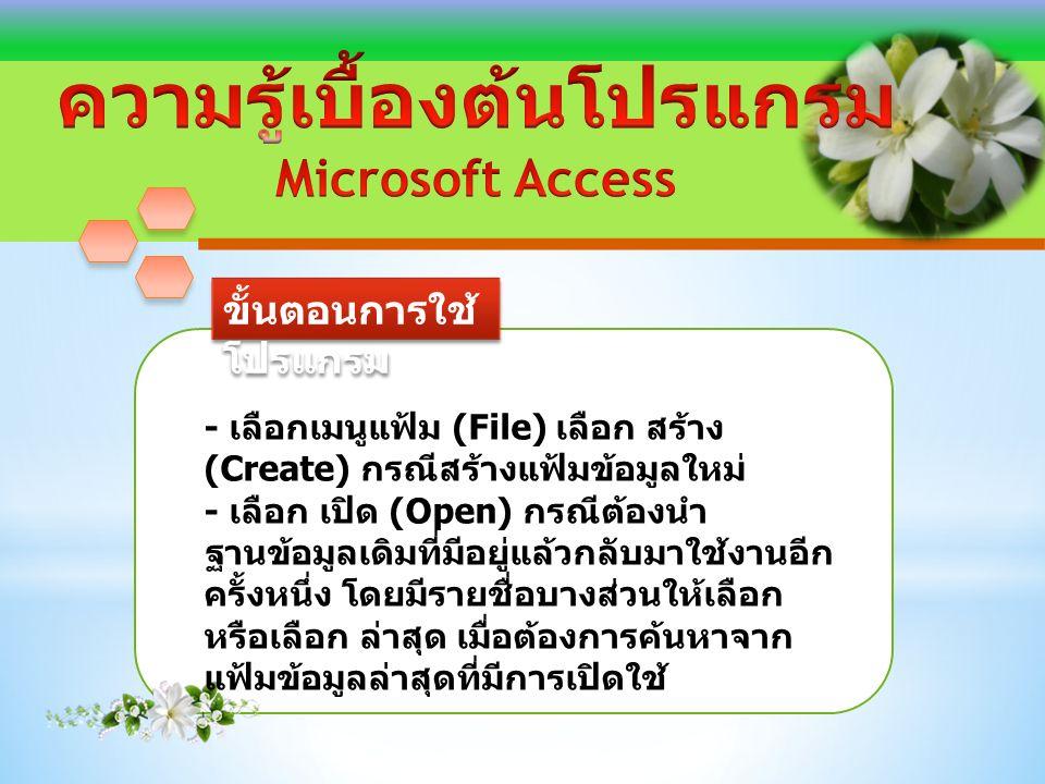 ขั้นตอนการใช้ โปรแกรม ภาพแสดงหน้าต่างโปรแกรม Access 2013