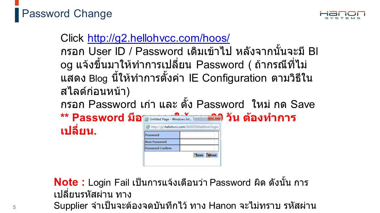 Strictly Private and Confidential 5 Password Change Click http://g2.hellohvcc.com/hoos/http://g2.hellohvcc.com/hoos/ กรอก User ID / Password เดิมเข้าไป หลังจากนั้นจะมี Bl og แจ้งขึ้นมาให้ทำการเปลี่ยน Password ( ถ้ากรณีที่ไม่ แสดง Blog นี้ให้ทำการตั้งค่า IE Configuration ตามวิธีใน สไลด์ก่อนหน้า ) กรอก Password เก่า และ ตั้ง Password ใหม่ กด Save ** Password มีอายุการใช้งาน 90 วัน ต้องทำการ เปลี่ยน.