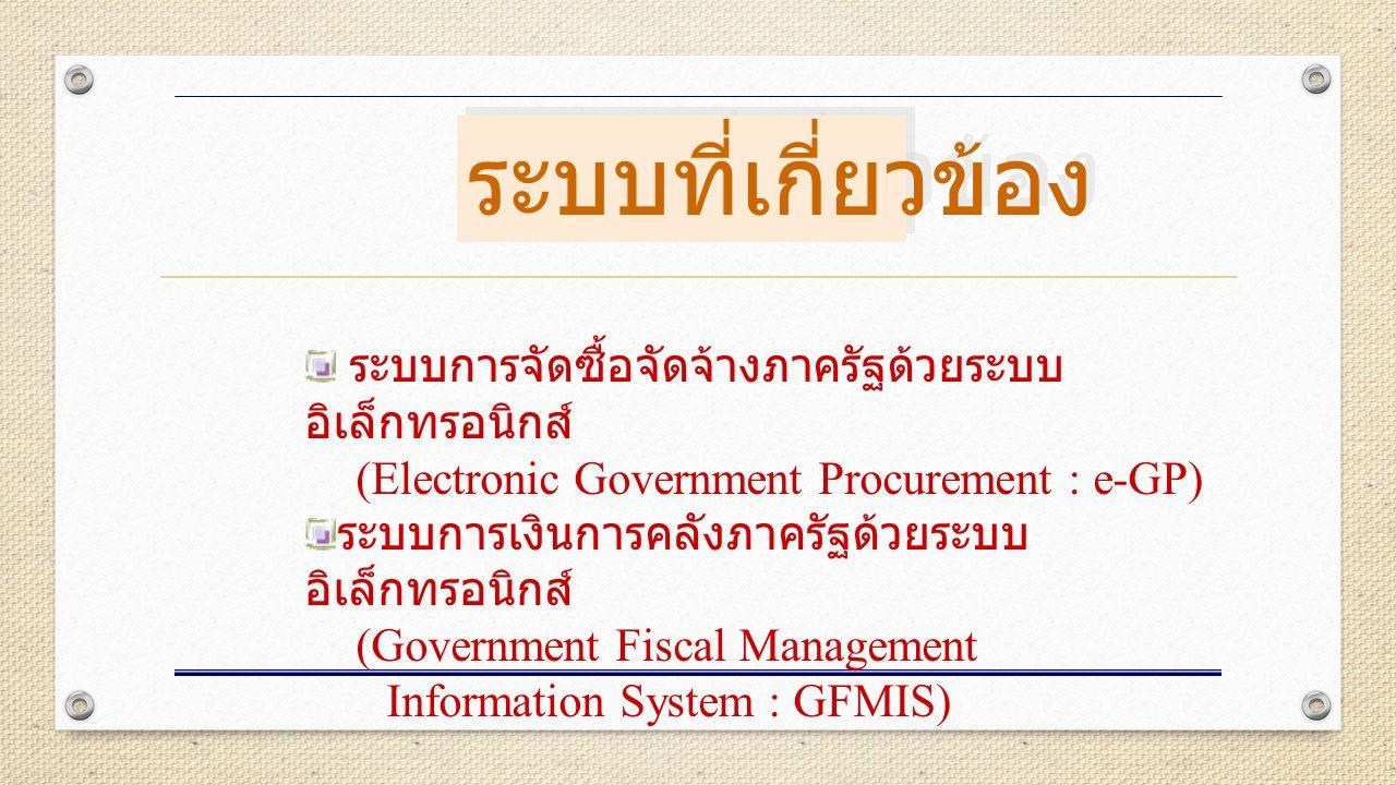 ระบบการจัดซื้อจัดจ้างภาครัฐด้วยระบบ อิเล็กทรอนิกส์ (Electronic Government Procurement : e-GP) ระบบการเงินการคลังภาครัฐด้วยระบบ อิเล็กทรอนิกส์ (Government Fiscal Management Information System : GFMIS) ระบบที่เกี่ยวข้อง