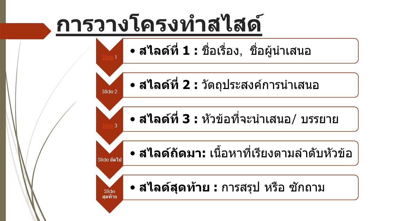 การวางโครงทำสไสด์ SlideSlide 1 สไลด์ที่ 1 : ชื่อเรื่อง, ชื่อผู้นำเสนอ Slide 2 สไลด์ที่ 2 : วัตถุประสงค์การนำเสนอ SlideSlide 3 สไลด์ที่ 3 : หัวข้อที่จะนำเสนอ / บรรยาย Slide ถัดไป สไลด์ถัดมา : เนื้อหาที่เรียงตามลำดับหัวข้อ Slide สุดท้าย สไลด์สุดท้าย : การสรุป หรือ ซักถาม