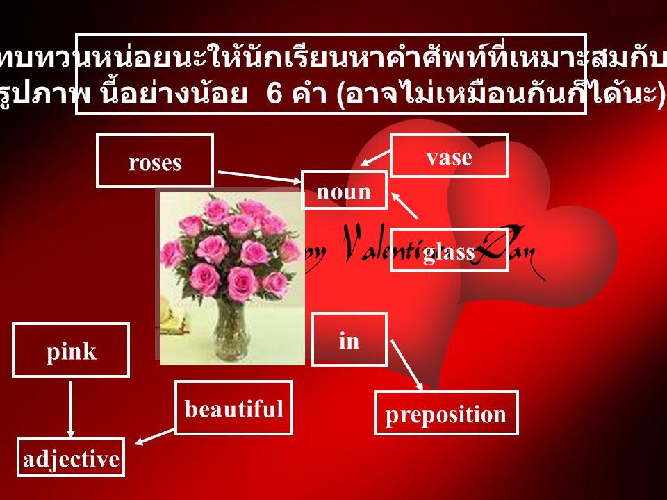 ทบทวนหน่อยนะให้นักเรียนหาคำศัพท์ที่เหมาะสมกับ รูปภาพ นี้อย่างน้อย 6 คำ ( อาจไม่เหมือนกันก็ได้นะ ) roses pink in beautiful glass vase adjective noun preposition