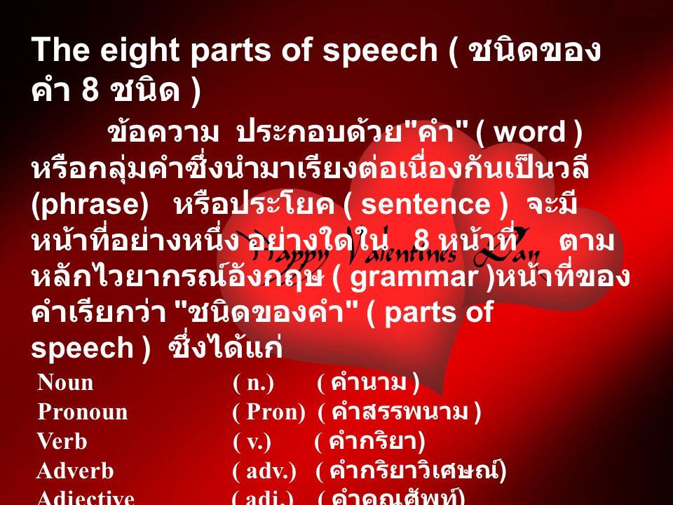 The eight parts of speech ( ชนิดของ คำ 8 ชนิด ) ข้อความ ประกอบด้วย คำ ( word ) หรือกลุ่มคำซึ่งนำมาเรียงต่อเนื่องกันเป็นวลี (phrase) หรือประโยค ( sentence ) จะมี หน้าที่อย่างหนึ่ง อย่างใดใน 8 หน้าที่ ตาม หลักไวยากรณ์อังกฤษ ( grammar ) หน้าที่ของ คำเรียกว่า ชนิดของคำ ( parts of speech ) ซึ่งได้แก่ Noun ( n.) ( คำนาม ) Pronoun ( Pron) ( คำสรรพนาม ) Verb ( v.) ( คำกริยา ) Adverb ( adv.) ( คำกริยาวิเศษณ์ ) Adjective ( adj.) ( คำคุณศัพท์ ) Preposition ( prep.) ( คำบุพบท ) Conjunction ( conj.) ( คำสันธาน ) Interjection ( inter.) ( คำอุทาน )