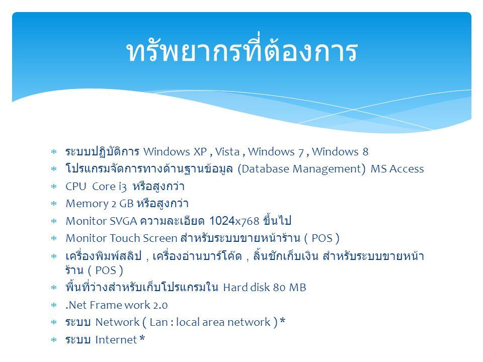  ระบบปฏิบัติการ Windows XP, Vista, Windows 7, Windows 8  โปรแกรมจัดการทางด้านฐานข้อมูล (Database Management) MS Access  CPU Core i3 หรือสูงกว่า  Memory 2 GB หรือสูงกว่า  Monitor SVGA ความละเอียด 1024x768 ขึ้นไป  Monitor Touch Screen สำหรับระบบขายหน้าร้าน ( POS )  เครื่องพิมพ์สลิป, เครื่องอ่านบาร์โค๊ด, ลิ้นชักเก็บเงิน สำหรับระบบขายหน้า ร้าน ( POS )  พื้นที่ว่างสำหรับเก็บโปรแกรมใน Hard disk 80 MB .Net Frame work 2.0  ระบบ Network ( Lan : local area network ) *  ระบบ Internet * ทรัพยากรที่ต้องการ